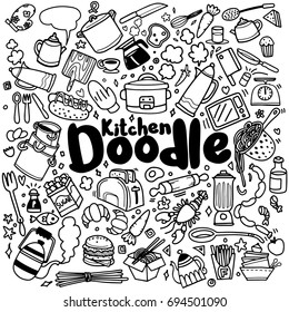 Foods and Kitchen doodles hand drawn sketchy vector symbols and objects,vector illustration