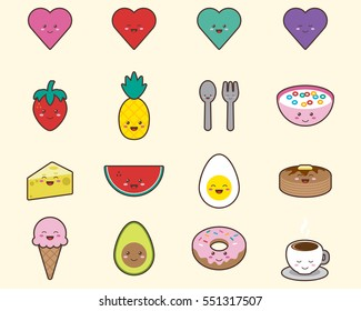 Foods, Objects and Heart Icons