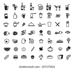 foodstuffs set of vector icons on a white background