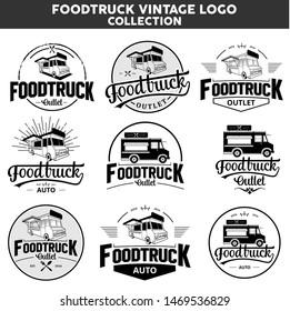 Foodtruck mobile vintage logo collection
