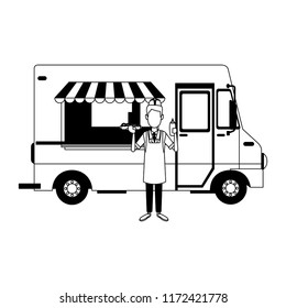 Foodtruck restaurant isolated in black and white