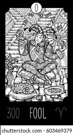 Fool. 0 Major Arcana Tarot Card. Fantasy engraved line art illustration. Engraved vector drawing. See all collection in my portfolio set.