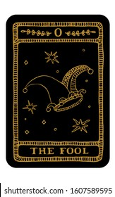 The Fool. Hand drawn major arcana tarot card template. Tarot vector illustration in vintage style with mystic symbols, crystals and line art stars. Witchcraft concept for tarot readers