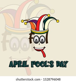 Fool Typography for April Fool's Day with colored cockscomb, the eye and tongue blows
