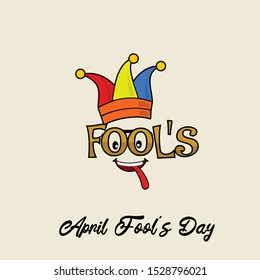 Fool's Typography for April Fool's Day with colored cockscomb, the eye and tongue blows