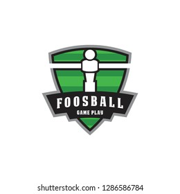 foosball badge emblem in shield shape logo icon vector template
