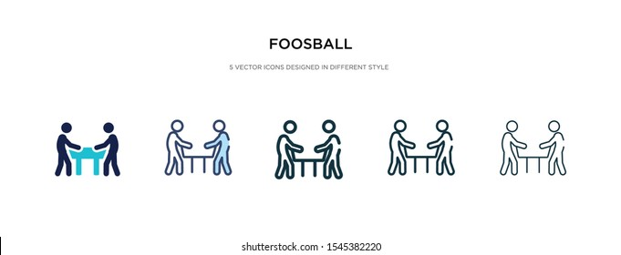 foosball icon in different style vector illustration. two colored and black foosball vector icons designed in filled, outline, line and stroke style can be used for web, mobile, ui