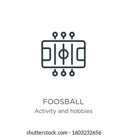 Foosball icon. Thin linear foosball outline icon isolated on white background from outdoor activities collection. Line vector sign, symbol for web and mobile