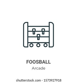 Foosball outline vector icon. Thin line black foosball icon, flat vector simple element illustration from editable arcade concept isolated on white background
