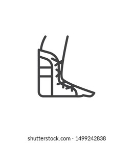 Foot ankle brace line icon. linear style sign for mobile concept and web design. Orthopedic Ankle Bandage outline vector icon. Symbol, logo illustration. Vector graphics