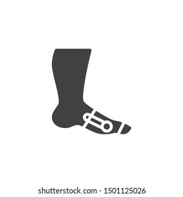 Foot ankle brace vector icon. filled flat sign for mobile concept and web design. Orthopedic ankle brace glyph icon. Symbol, logo illustration. Vector graphics