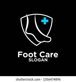 Foot and Ankle care line black logo icon design vector illustration