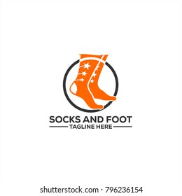 Foot and Ankle Care logo template, Socks and foot logo icon, Ankle and Foot healthcare vector icon template.