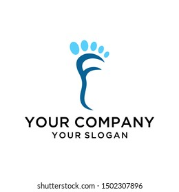 Foot ankle letter F logo design vector for healthcare company