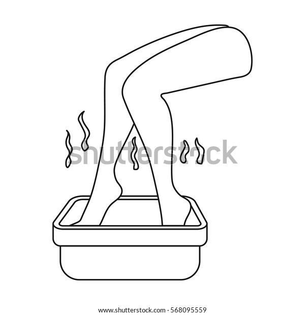 Foot bath icon in outline style isolated on white background. Skin care symbol stock vector illustration.