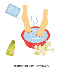 Foot bath. Illustration of foot care.