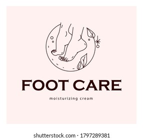 Foot care logo design with pair of bare woman feet arranged together and some decorative elements isolated on light background. Foot icon. Vector line art illustration.