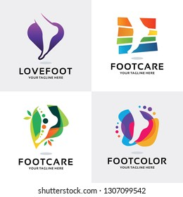 Foot Care Logo Set Design Template Collection