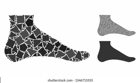 Foot composition of abrupt pieces in various sizes and shades, based on foot icon. Vector abrupt pieces are organized into composition. Foot icons collage with dotted pattern.