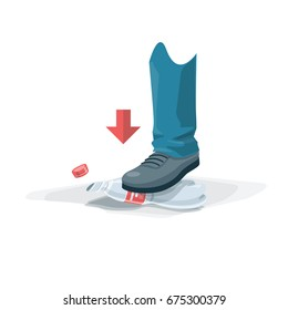 Foot depress empty pet bottle. Squeezed plastic trash under the shoe. Isolated vector illustration on white background. Reduce the volume of recyclate.
