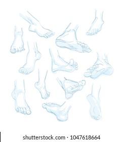 Foot doodle. hand drawn sketch. illustration
