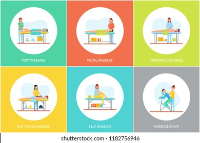 Foot and facial, abdominal and self, hot stone massage and special chair cartoon set vector posters. Masseur in uniform and client lying relaxed on table