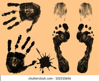 Foot, finger and hand prints on orange background, vector illustration