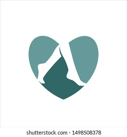 Foot Healthy Logo. Varicose Vein Symbol. Love Heart Icon Vector Eps 10.