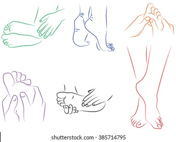 Foot, heel, legs. massage or pain. Drawn by hand black and white cartoon people. Set of female legs, take care of your heels, massage, grace.  legs, foot, heel. pain or massage
