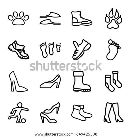 Foot Icons Set Set 16 Foot Stock Vector Royalty Free 649425508