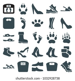 Foot icons. set of 25 editable filled foot icons such as animal paw, socks, slippers, man shoe, shoe, floor scales, boot, paw, baby socks, woman shoe