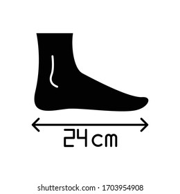 Foot length black glyph icon. Human body parameters measurement, shoemaking silhouette symbol on white space. Foot size from heel to toe specification for bespoke shoes. Vector isolated illustration