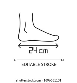 Foot length pixel perfect linear icon. Thin line customizable illustration. Human body parameters measurement, shoemaking contour symbol. Vector isolated outline drawing. Editable stroke