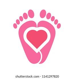 foot logo. reflexology icon. finger symbol. vector eps 08.