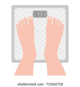 Foot on the scales, view from above. Weight measurement, weight control, increase or loss of weight. Maintaining healthy lifestyle, diet, proper nutrition. Vector illustration