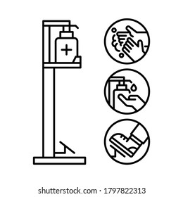 Foot operated hand sanitizer dispenser. Line vector. Isolate on white background.