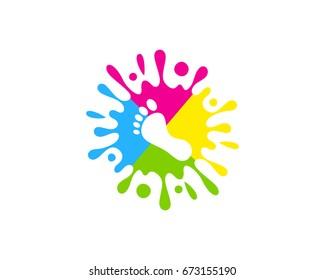 Foot Paint Icon Logo Design Element