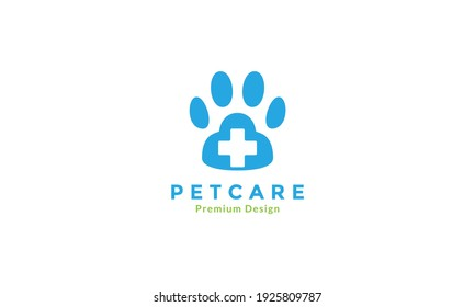 foot pets or dog care health with cross sign logo design vector icon symbol graphic illustration