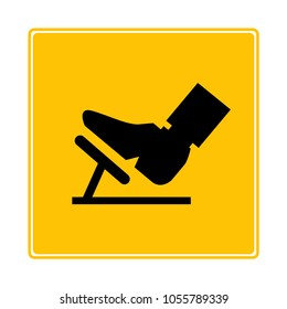 foot press accelerator pedal symbol in yellow background