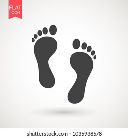Foot print icon. Bare foot print Black on white feet icon vector , stock vector illustration flat design style
