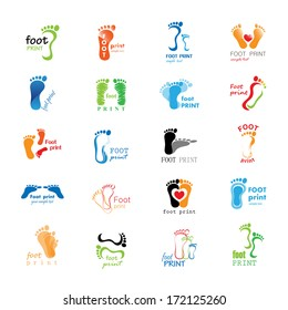 Foot Print Icons Set - Isolated On White Background - Vector Illustration, Graphic Design Editable For Your Design