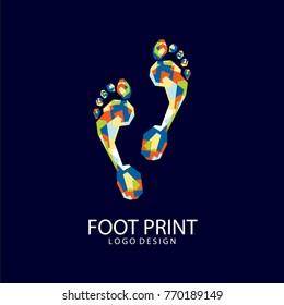 Foot Print Logo. Colorfully foot print. Creative logo