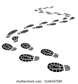 Foot print monochrome brush, isolated on white. Shoe's sole trace silhouette of a walking man. Black boot flat path illustration isolated on white background. Unknown footstep trail in 3d perspective.