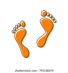 Foot prints sign. Vector. Black line icon with shifted flat orange filled icon on white background. Isolated.