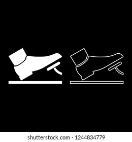 Foot pushing the pedal gas pedal brake pedal auto service concept icon outline set white color