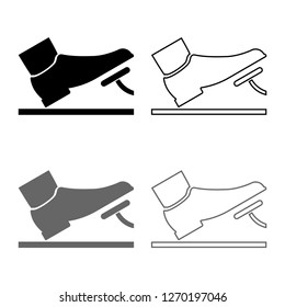 Foot pushing the pedal gas pedal brake pedal auto service concept icon outline set grey black color