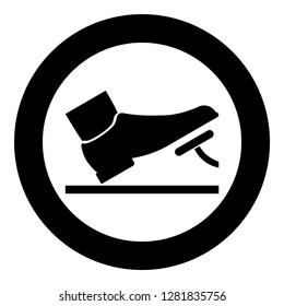 Foot pushing the pedal gas pedal brake pedal auto service concept icon black color vector illustration flat style simple imagein circle round