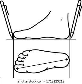 Foot size measurement for shoes. Vector outline icon.