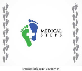 Foot, steps, medical logo design