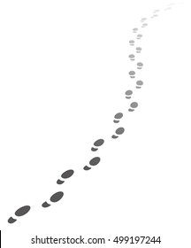 Foot steps walking away.Illustration of receding human footprints with copy space. Vector EPS10.